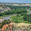 The Lazy Little Missouri River Leading to Medora, North Dakota