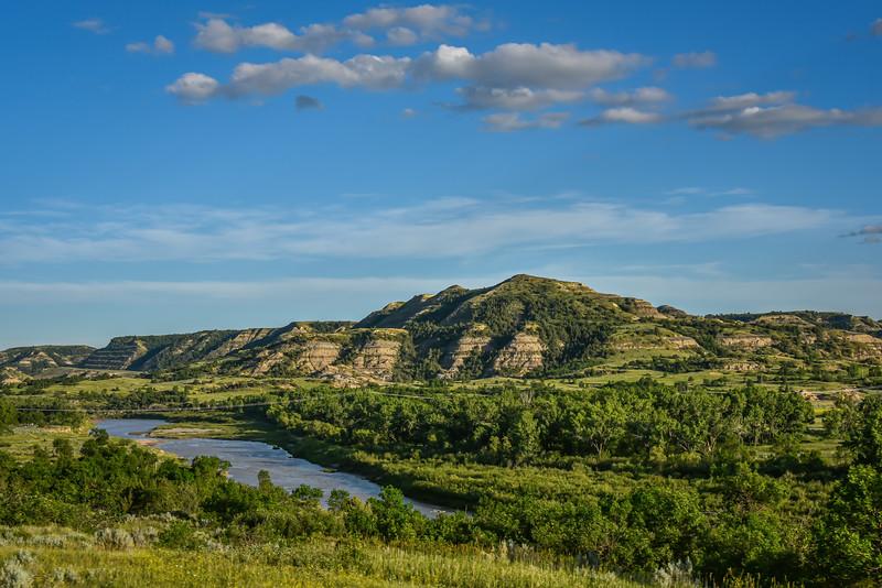 Little Missouri River Meanders Through Emerald Green Badlands