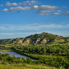 Little Missouri River Meanders Through Emerald Green Badlands