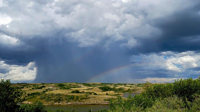 Rainbow Beyond the Hail, Summer Storm at Indian Hills, North Dakota