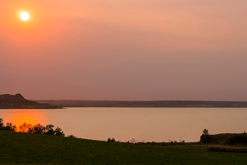 Orange Sunset at Lake Sakakawea