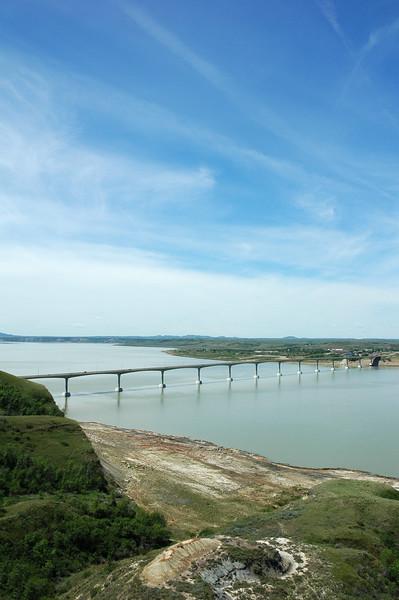 Four Bears Bridge blue skies