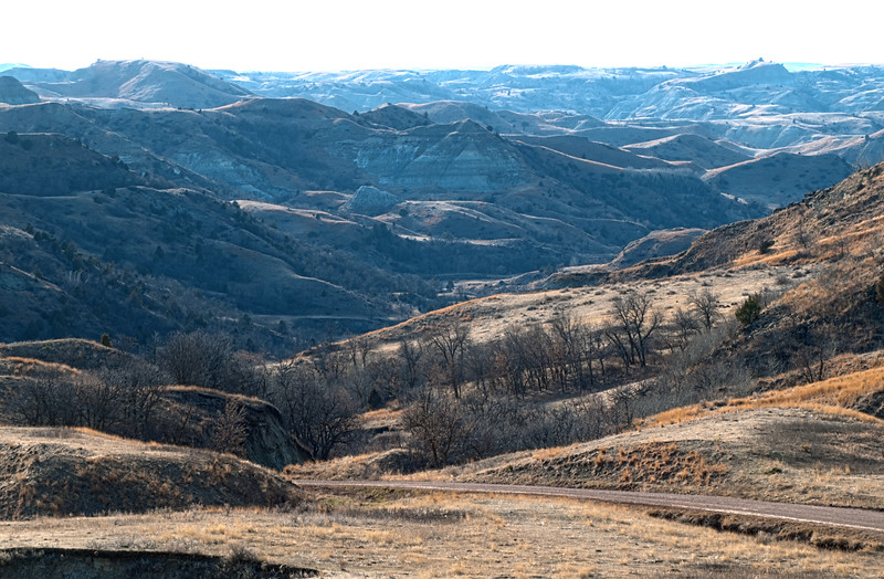 In the late afternoon, the shadows of the Badlands far to the west take on a hazy blue cast while in the foreground, the sun has lit the nearby hills.