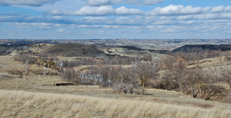 The Little Missouri River winds its way from Montana in to North Dakota through the Badlands of North Dakota.  On this spring day, the snow is gone.