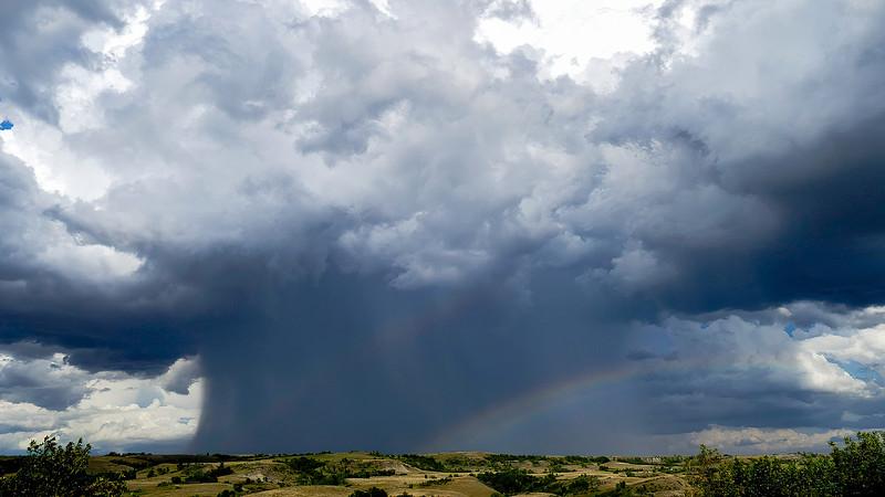 The Sky Grows Dark as Rain and Hail Move Across the Prairie, Indian Hills, North Dakota