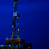 A frequent image these days in western North Dakota, this oil drilling rig was just south of Killdeer.  It wasn't here long. Today it's pumping oil in to America's petroleum economy.  But for the moment, it was a colorful image against the evening sky.