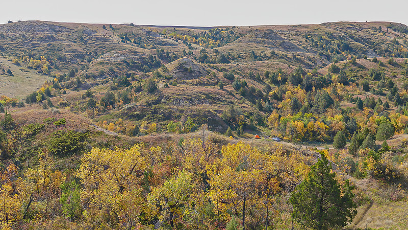 Overlooking Elkhorn Ranch Campground in Fall, North Dakota