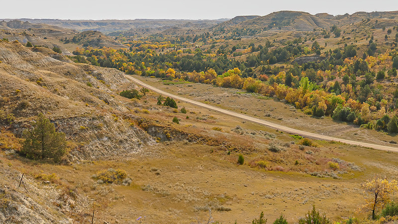 The Road to Elkhorn Ranch in Fall, North Dakota