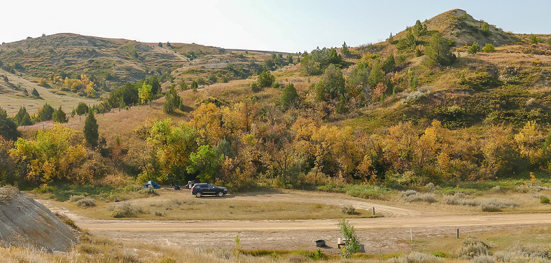 Fall Colors Over Campsite at Elkhorn Ranch Campground, North Dakota