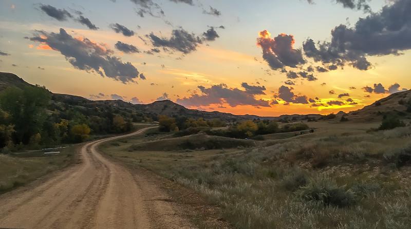 Sunset Beyond Elkhorn Ranch Campground in North Dakota