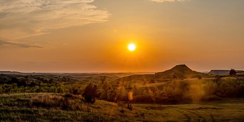 Sun Sets Over the Badlands West of Theodore Roosevelt's Elkhorn Ranch, North Dakota