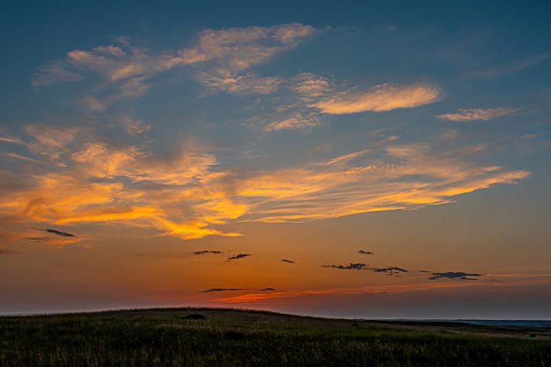 The Sun Has Set Over the Grasslands Near Theodore Roosevelt's Elkhorn Ranch, North Dakota