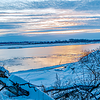 winter sunset on missouri river