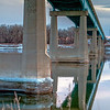 reflection on Missouri River of Washburn bridge