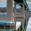 reflection on Missouri River of Washburn bridge