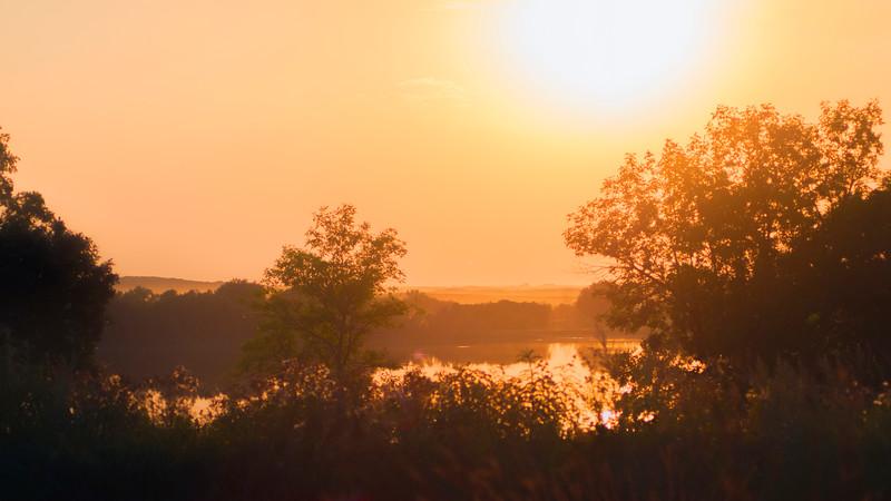 Sunset over Devils Lake
