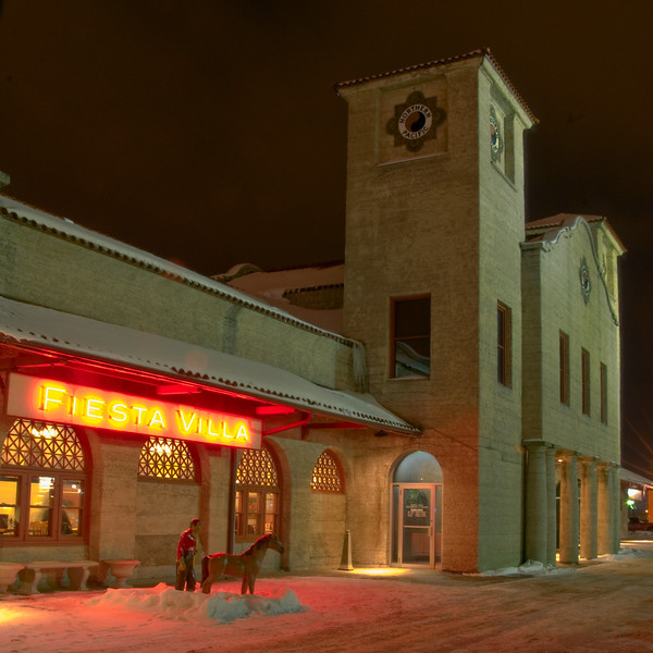 A February night and the light was right to capture this image of the old depot that is now a mexican restaurant, Fiesta Villa.