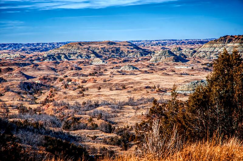 A dry winter Badlands landscape