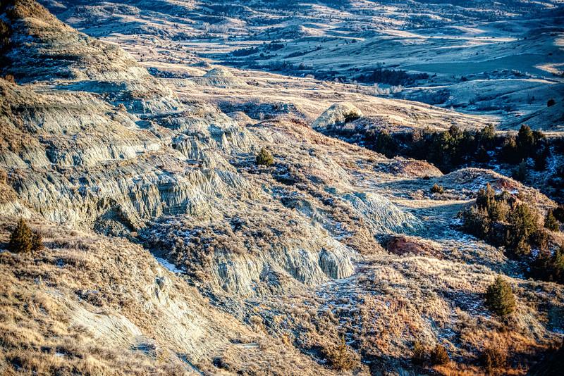 Winter's blue cast on the Badlands