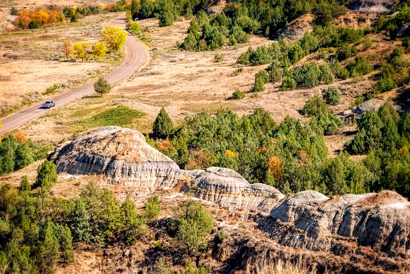 Above the scenic road at Theodore Roosevelt National Park