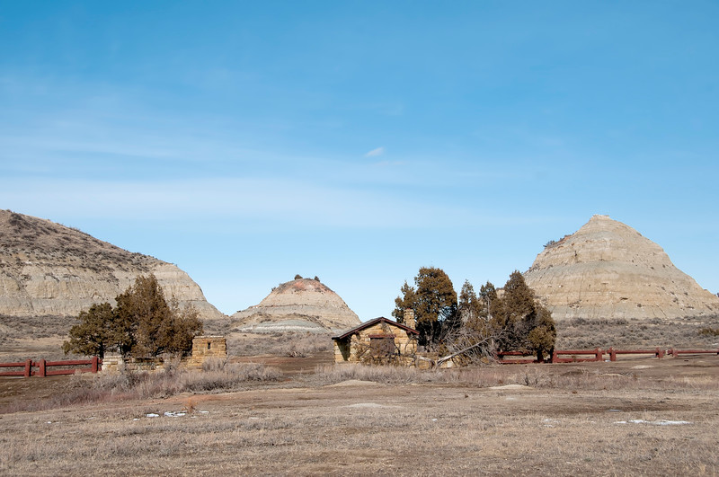 """East Entrance, closed for 50 years still stands at the South Unit of the Theodore Roosevelt National Park.<br /> <br /> You can own this image as wall decor or other quality products from leading photo labs. Just click """"buy."""""""