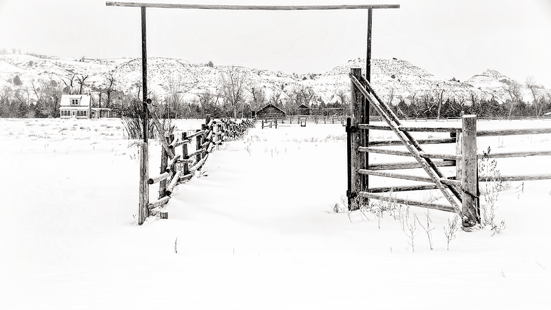 "The pasture gate is open at the Peaceful Valley Ranch at the Theodore Roosevelt National Park near Medora.<br /> <br /> Add this image to your collection of Badlands images -- just click ""buy"" to start windowshopping all the images and keep sakes you can own."