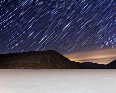 Swirling Sky Frozen Lake