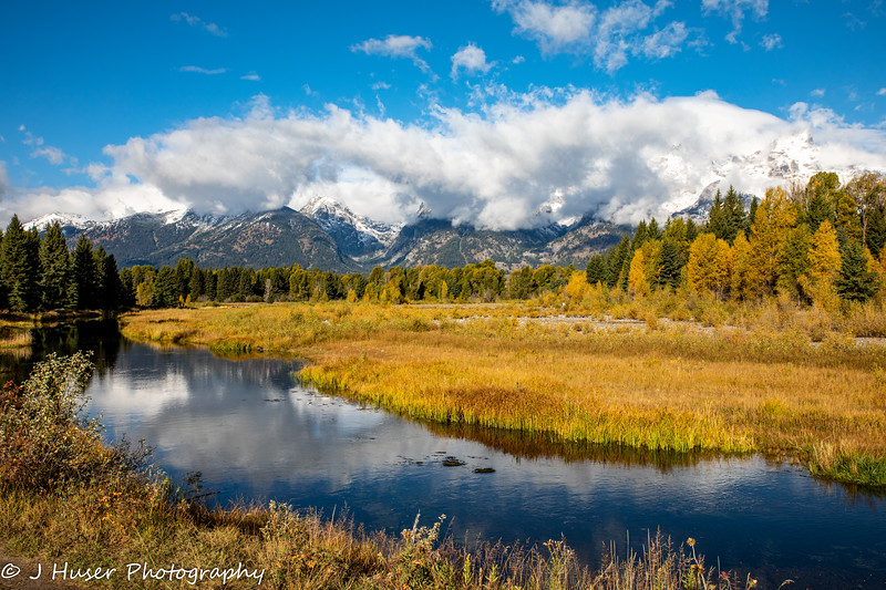 Autumn color shining below the Teton Mountains