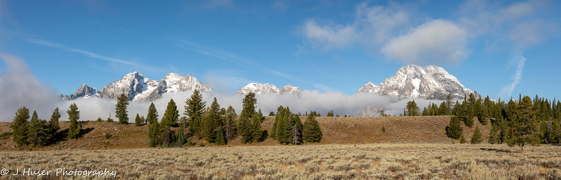 Panorama of Teton mountains in Grand Teton NP