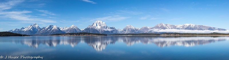 Panorama of mountain reflections in Grand Teton NP