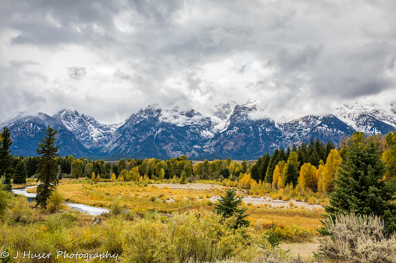 The clearing storm over the Teton mountains in the Fall