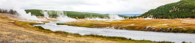 Steam rising around the Madison river in Yellowstone