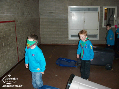 Beavers doing a blind obstacle course