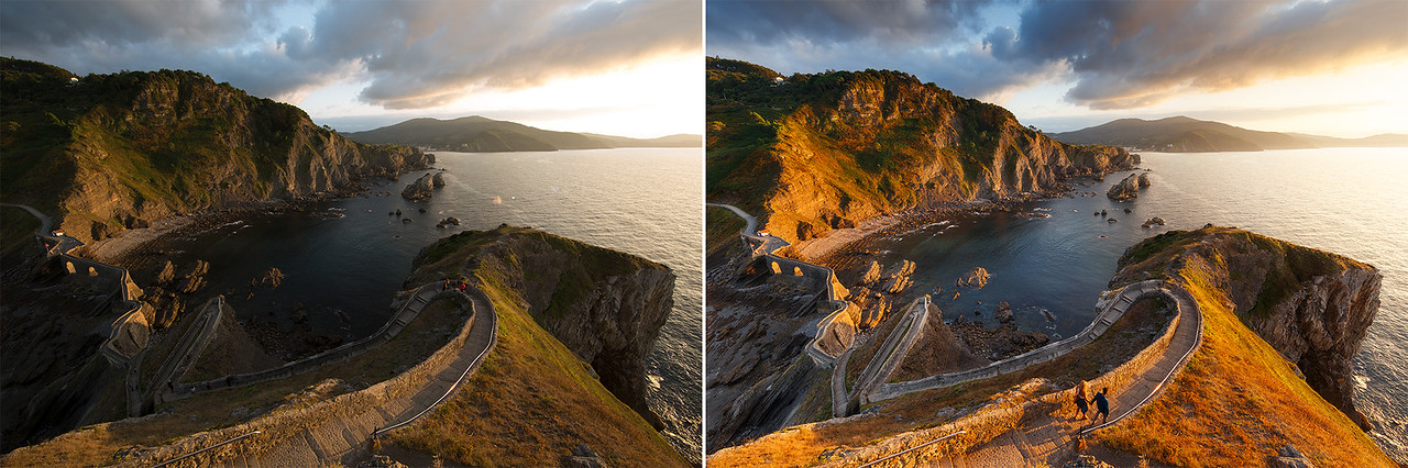 San Juan de Gaztelugatxe - Spain - Before After