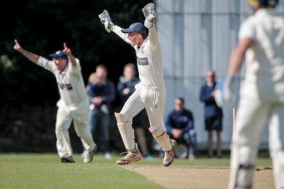 Beckwithshaw CC appeal for a wicket during a devastating opening spell of bowling.