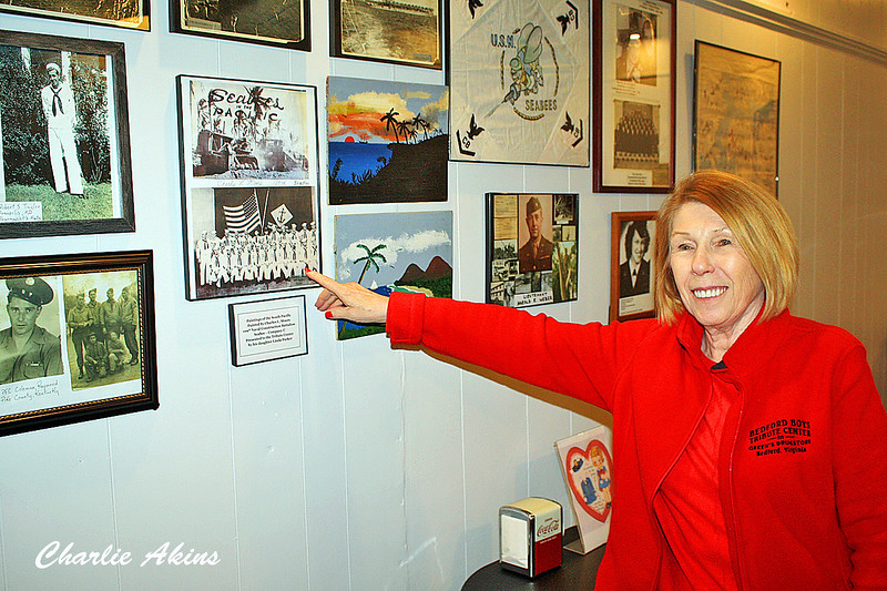 Linda points to a picture of her father.
