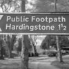 Public Footpath to Hardingstone sign