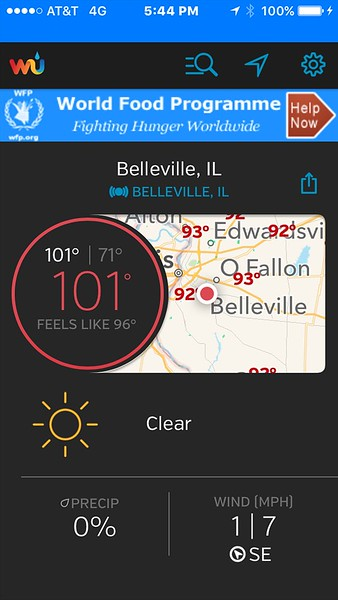 At nearly 6 p.m. it was 101 degrees!