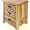 3-drawer nightstand Rustic style in Hickory with Natural Finish