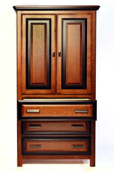 Tall Armoire Border style in Quarter Sawn Oak with Midnight Maple