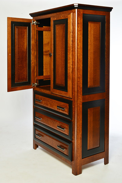 Tall Armoire  Granger Style in Quarter Sawn Oak with Midnight Maple