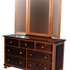 Heritage Dresser in Cherry and Walnut, Natural Finish, With Added Mirror (corner view)