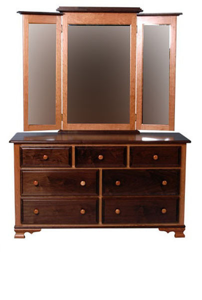 Heritage Dresser in Cherry and Walnut, Natural Finish, With Added Mirror (front view)