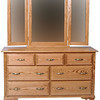 Heritage Dresser in Medium Oak, With Added Mirror (front view)