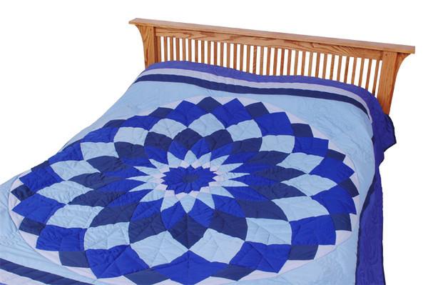 Quilt - Blue Star Dahlia (angle view)