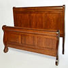 Queen bed Burr Sleigh style in Quarter Sawn Oak