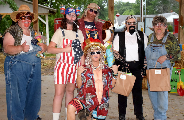 Pictured are, in front, Stacy Heiserman as Corn Fed King Johnny Tsunami and in back, from left, Patty Laue as Digger Deeper, Stacey Osborne as Willie Fisterbottom, Jackie Stoldt as Catfish Cooter, Janet Lorton as Chuckles and Leslie Wood as T.P. Crapper. Kaitlin Cordes photo