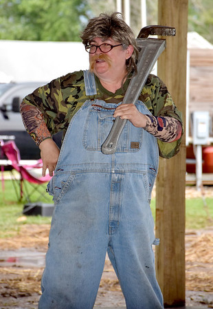"""Leslie Wood shows off her costume as she portrays """"T.P. Crapper"""" in the Corn Fed King contest Saturday evening. Kaitlin Cordes photo"""