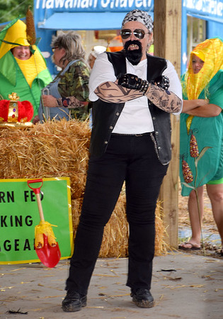 Janet Lorton is all business dressed as her Corn Fed King Contest persona, Chuckles. Kaitlin Cordes photo