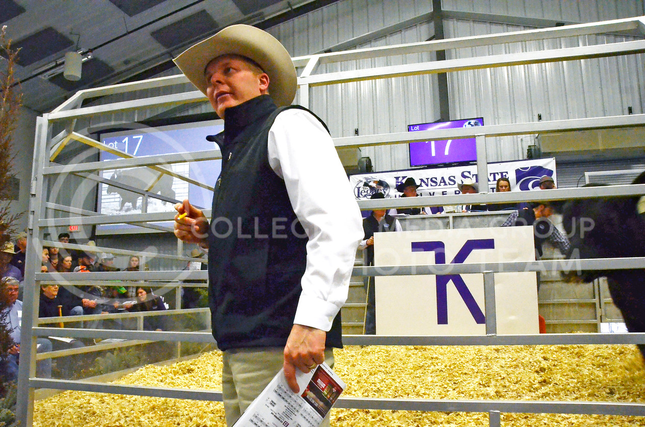 Stephen Russell, of Kansas Stockman and Kansas Livestock Association, watches for bids at Cattlemen's Day on Friday, March 2, 2018, at Stanley Stout Center, 2200 Denison Ave.